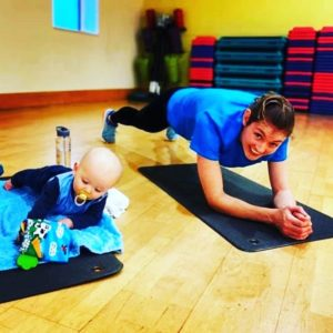 Mum working out with baby